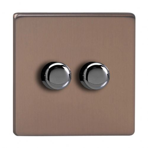 Varilight JDYP252S.BZ Screwless Brushed Bronze 2 Gang 2-Way Push-On/Off LED Dimmer 0-120W V-Pro